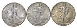 Lot (3) 1939 Walking Liberty Half Dollar