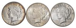 Lot (3) 1923-S Peace Silver Dollars