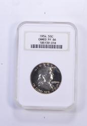 PF66 CAMEO 1954 Franklin Half Dollar - Graded NGC