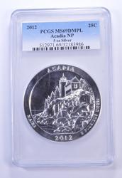 MS69 DMPL 2012 Acadia National Park 5 Oz. Silver Quarter - Graded PCGS