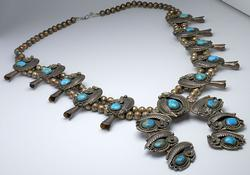 Heavy Squash Blossom Sterling & Turquoise Necklace