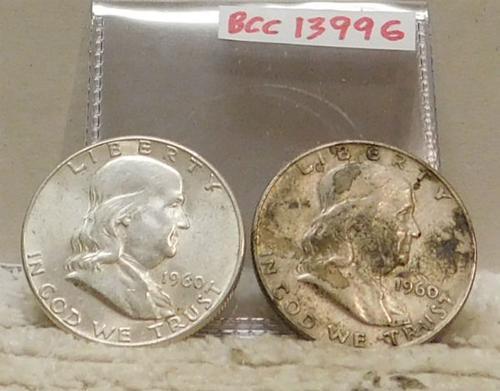 2 ea Franklin Half Dols, 90% Silver circ, 1960 & 1960-D