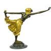 Bronze Dancer Statue on Marble Base Figurine