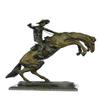 Cowboy on Horse Bronze Statue on Marble Base