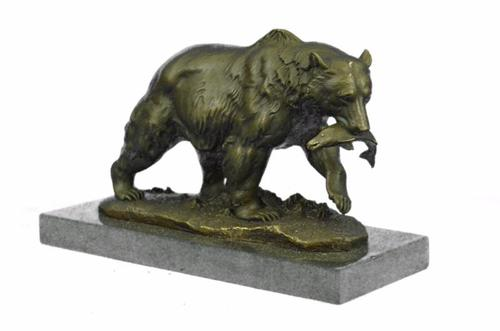 Grizzly Bear Hunting Fish Bronze Sculpture