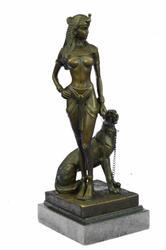 Cesaro Egyptian Queen W/Guard Dog Sculpture Statue
