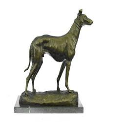 Racing Dog GreyHound Bronze Statue on Marble Base