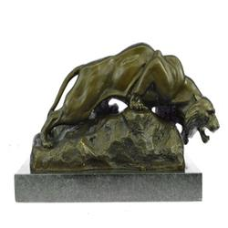 Bronze Mountain Lion Sculpture on Marble Base Statue