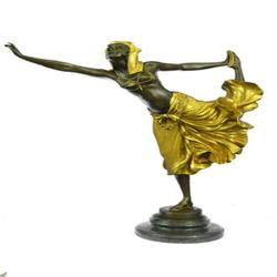 Bronze Dancer Statue on Marble Base Figurine