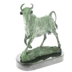 Bull Bronze Sculpture on Marble Base Statue