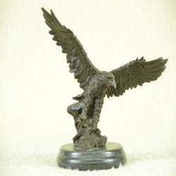Eagle Bronze Sculpture on Marble Base Figurine