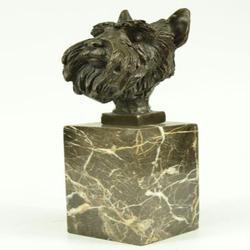 Scottish Terrier Bust Bronze Sculpture