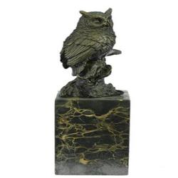 Bronze Bird Owl Sculpture on Marble Base Statue