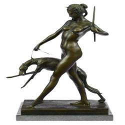 Nude Diana the Hunter with Bronze Sculpture on Marble