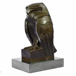 Abstract Modern Art Owl Bronze Sculpture on Marble Base