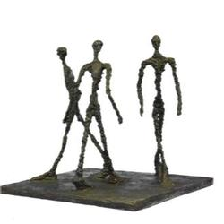 Three Walking Man Bronze Sculpture