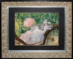 LOUIS ICART IN THE CARRIAGE ORIGINAL OIL
