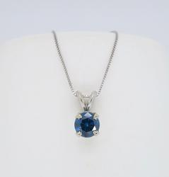 Treated Blue Diamond Solitaire Necklace