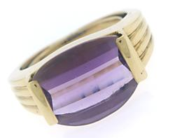 Amazing East West Faceted Amethyst Ring