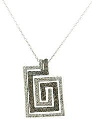 Amazing Chocolate Diamond Greek Key Necklace