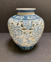 Decorative Hand Painted Porcelain Floral Vase w/ Holes