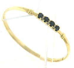 Fancy Sapphire & Diamond Accent Hinged Bangle