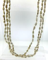 3 Row Fresh Water Pearl and Gold Beaded Necklace