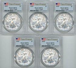 5 PCGS MS70 graded First Strike 2019 $1 Silver Eagles