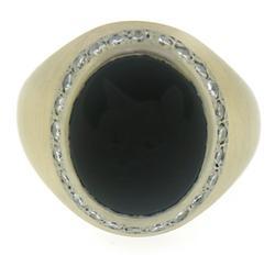 Black Onyx with Diamond Halo Ring