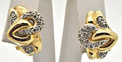 14 KT YELLOW GOLD AND DIAMOND EARRINGS.