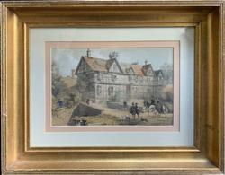 F.W. Hulme Vintage Color Engraving of The Pitchford Hall