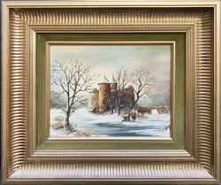Beautiful Winter Scenery on Oil on Board