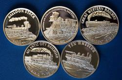 5 1oz .999 Fine Silver Locomotive Theme Rounds