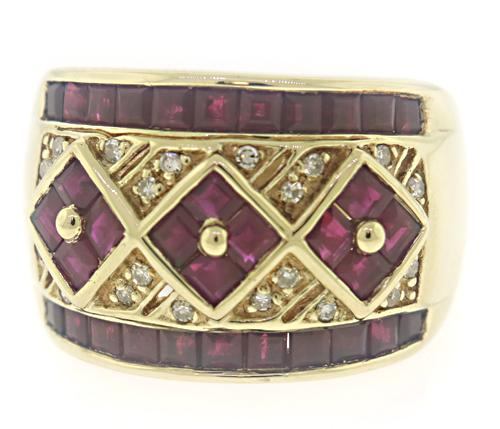 Fantastic SQ Ruby and Diamond Accent Wide Band