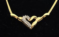 Sparkling Diamond Gold Heart Necklace on 17-Inch Chain