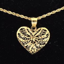 14KT Heart Filigree Pendant on 20-Inch Rope Chain