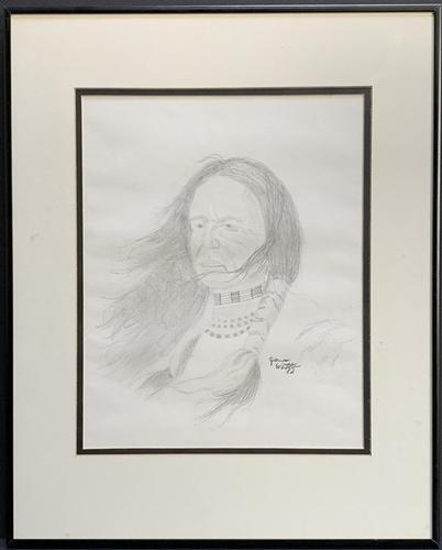Pencil Sketch Portrait of a Native American.