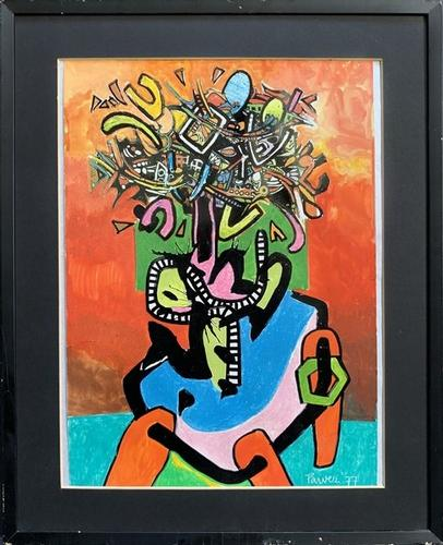 Mixed Media Signed Abstract Artwork