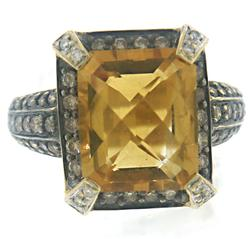 Shinning 18kt Citrine Quartz and Diamond Ring