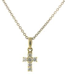 Sparkling Diamond Shared Prong Cross Necklace
