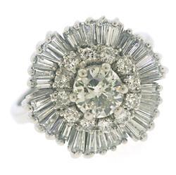 Shinning White Gold Diamond Ballerina Ring