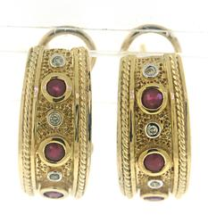 Etruscan Ruby and Diamond Earrings