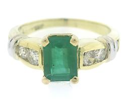 Stylish Diamond and Emerald Two tone Ring