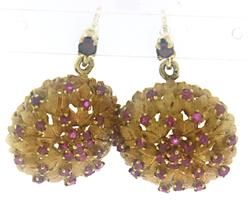 Vintage Ruby Leaf Earrings