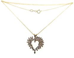 Pretty Cluster Diamond Heart Necklace