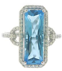 Blue Topaz and Diamond Halo w Link Side Shank Ring