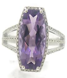 Fantastic Amethyst & Diamond Halo Triple Shank Ring