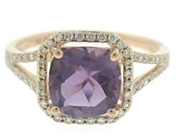 Shinning Cushion Amethyst and Diamond Ring