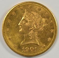 Flashy BU 1901-S $10 Liberty Gold Piece. Nice