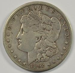 Very scarce 1892-CC Morgan Silver Dollar in XF
